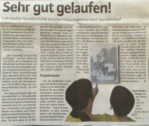 Artikel zum Sponsorenlauf (Niendorfer Wochenblatt Nr.26, 02.07.2016)